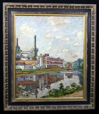 """Hayley Lever (1875-1958) """"Factory"""" Oil Painting (Similar Works $21,000)"""