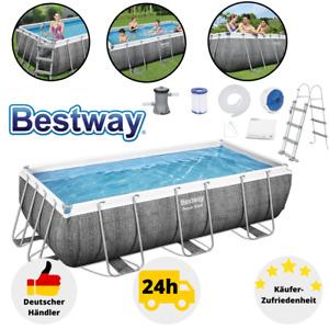 Bestway Power Steel Frame Pool Schwimmbecken Rechteckig 404x201x100 Pumpe Set