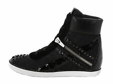 New COACH Didi Boots Shoes Leather Canvas Studs Bling Black Women 9  Retail$200