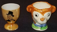 1930's - CHARLIE McCARTHY + LOOKALIKE MICKEY MOUSE - CHARACTER - EGG CUPS (2)