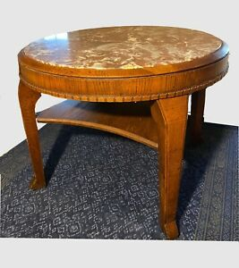 Runder Massivholz Tisch mit Marmorplatte