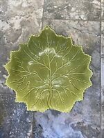 """Olfaire Leaf Serving Bowl  Green w/3 Leaf Shaped Dishes Portugal  14"""""""