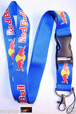 Red Bull Energy Drink  Lanyard ID Holder Keychain Cell Phone Detachable clip