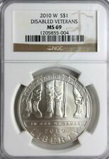 2010  W $1 Disabled Veterans Silver Dollar (.999), NGC MS 69