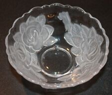 Mikasa Frosted Rose Flower Glass bowl serving candy or peanuts 5 3/8""