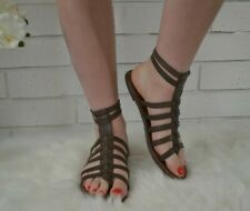 ebe769aa28b Sam Edelman Gilda Gladiator Flat Sandal Strappy Brown Leather Caged Size 8.5
