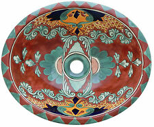 "Mexican Bathroom Ceramic Sink Talavera Handmade 17"" x 14"" # 157"