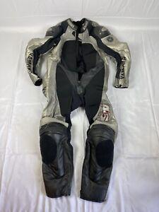 Dianese Yamaha Sz 58 One Piece Bovine Leathers Black Silver Racing Motorbike 45