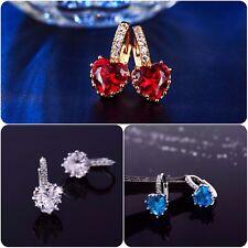 UK NewLuxury Rose Gold Silver Plated Heart Shape Cubic Zirconia Crystal Earrings