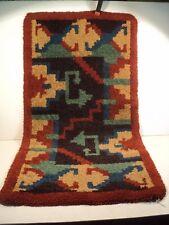Ancien Tapis Laine Épais Motif Géométrique Début XXème Art Déco Carpet Design