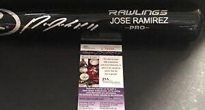 Jose Ramirez Cleveland Indians JSA COA Autographed Signed Pro Model Bat Black