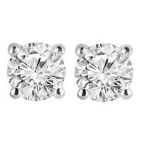 4Ct Signity Diamond Solitaire Earrings In 14K White Gold Over Sterling Silver