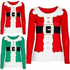 Womens Christmas  Ladies Santa Claus Father Suit Belted Costume T Shirt Xmas Top