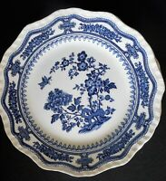 Mason's Manchu Blue Dinner Plate Off White With Blue Floral VTG Made in England