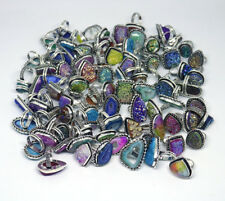 Wholesale Lot !! 100 PCs Geode, Coated Druzy .925 Silver Plated Gemstone Rings