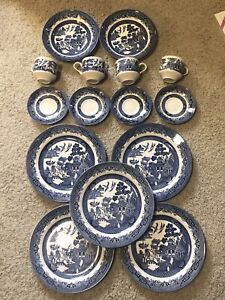 15 Pc Churchill Blue Willow Plate Bowl Coffee Cups Saucers