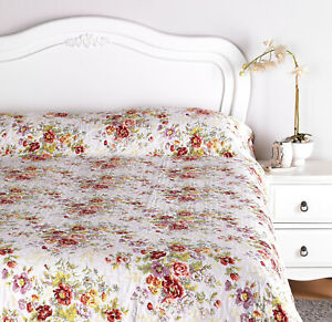 Luxury Diana Cowpe English Floral design Fine Quilted Bedspread Throw-Over