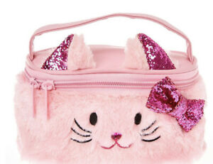 Claire's Club Plush Pink Kitty Cat Train Cosmetics Case New with Tags