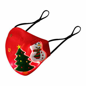 7 Color LED Light up Face Mask Christmas Tree Snowman Glowing Luminous Rave Mask