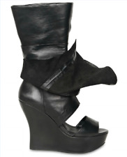 SUPER GORGEOUS!!! Camilla Skovgaard Draped BLACK LEATHER WEDGE BOOTS EU 39  US 9