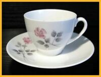 Royal Doulton Pillar Rose Coffee Cups & Saucers