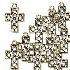 Cross Charms Antiqued Brass Scroll Pendant Christian Jewelry Lot of 10