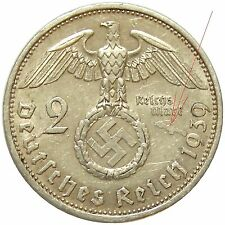 c457 GERMANY EXCEDENT MATERIAL ERROR 2 MARK 1939 SILVER COIN DEUTSCHES REICH