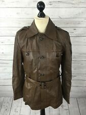 BURTON Vintage Leather Safari Jacket - Small 40 - Brown - Great Condition