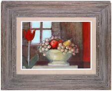 Original Mixed Media Painting FRUIT STILL LIFE Custom Framed Tulip Flower