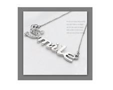 collier chaîne pendentif argenté breloque SMILE sourire strass Idée cadeau! NEUF