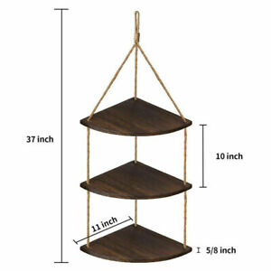 3 Tier Wooden Corner Shelf Hanging Solid Wood Shelving Floating Fixings Included