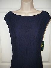 Lauren Ralph Lauren Navy Blue Lace Cap Sleeve Empire Waist Sheath Dress 12 New