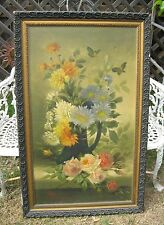 Beautiful Large Vintage Painting--Roses & Mums with Butterflies