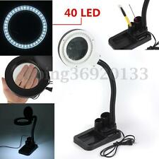 5X 10X Tabletop Magnifier Magnifying Crafts Glass Desk Lamp With 40 LED Light