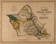 A4 Reprint of Shipping Coastal And Seas Map Oahu Island Hawaii