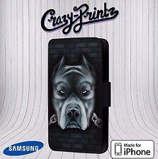 Pitbull Pit Bull Cool Black fits iPhone / Samsung Leather Flip Case Cover U114