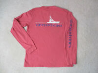 Vineyard Vines Long Sleeve Shirt Adult Extra Small Pink White Whale Fishing *