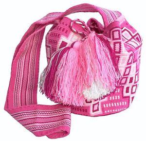 OOAK Traditional and OriginalWayúu MOCHILA Bag Pink Medium Size Cross Body