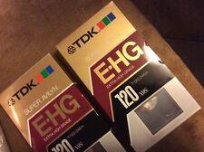 2 New TDK Extra High Grade VHS T-120 Blank Tape Super Avilyn Technology Sealed
