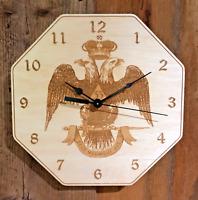 "Masonic ""Scottish Rite 33 Deg"" 10"" Wall Clock - Wood - Laser Crafted Gift 1"""