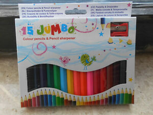 15 Jumbo Buntstifte mit Bleistiftspitzer Neu OVP verschiedene Farben