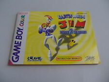 Earthworm Jim Menace 2 The Galaxy (EUR) Game Boy Gameboy Color Manual only