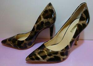 Guess Patent Leopard Print Pumps Size 7M Stiletto Heels.