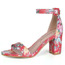 Women Open Toe Block Heel Floral Print Ankle Strap Sandals Red US 9