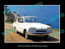 OLD POSTCARD SIZE PHOTO OF 1961 FORD CONSUL CLASSIC CAR LAUNCH PRESS PHOTO