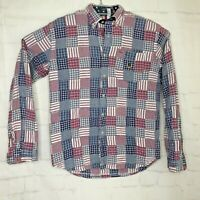 Tommy Hilfiger Mens Multicolored Long Sleeve Button Small Patch Work Shirt Sz XL