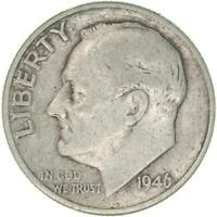 1946 D Roosevelt Dime 90% Silver Very Fine VF