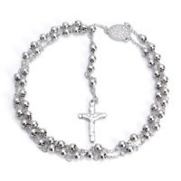 Men Stainless Steel Pendant Necklace Silver Jesus Christ Crucifix Cross Ros Q1H0