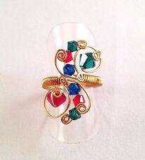 Envoltura de trabajo de cable hecho a mano ajustable Ring-Azul Verde Rojo Cristales de Swarovski