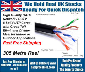 NEW 305m External CAT6 Black Outdoor Ethernet Network Cable Reel UTP FREE POST